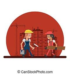 建设者, 工作, 建设, 妇女, 在下面, 发生地点