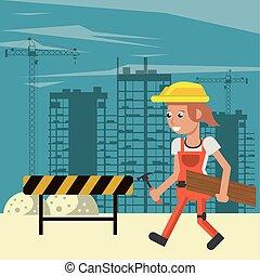 建设者, 建设, 工作的妇女, 在下面, 发生地点