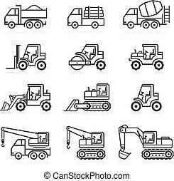 建设, 卡车, set., 图标