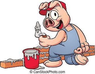 建设, 猪, 工人