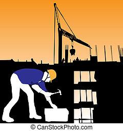 建设, 矢量, 工人