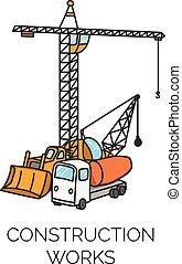 建设, 矢量, 工作, 描述, 签署