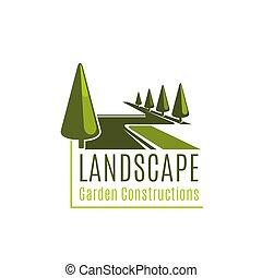 建设, 花园, 风景, 签署
