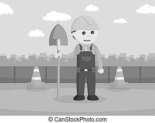 建设, 铁锨, 工人, 握住