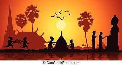 建造しなさい, スタイル, 彫刻, プレーしなさい, アジア, 水, 日の出, 砂, 仏, 恋人, 生活, 時間, 塔, 注ぎなさい, 子供, 国, シルエット, 間