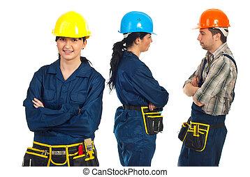 建造者, 工人, 婦女, 以及, 她, 隊