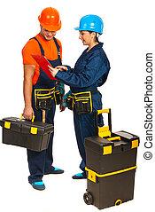 建造者, 工人, 有, 討論