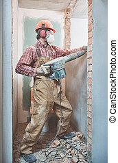 建造者, 由于, 爆破, 錘子, 打破, 內部, 牆