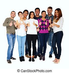 开心, 人们的组, 带, 上的拇指, -, 隔离, 结束, 白色