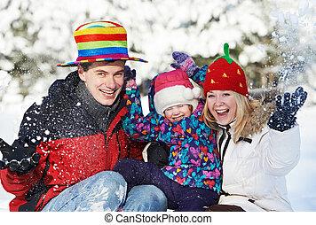 开心, 冬季, 家庭, 孩子