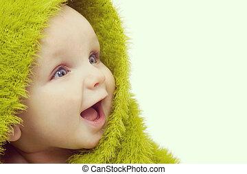 开心, 婴儿, 在中, 绿色, 毛毯