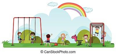 开心, 孩子玩, 在中, 操场