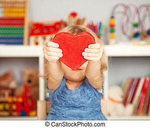 开心, 孩子, 带, 红, 纸心