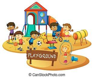开心, 孩子, 玩, 在中, 操场