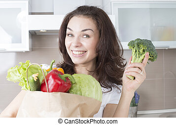 开心, 少女, 带, 蔬菜, 在中, 购物, bag., 饮食, 概念