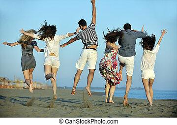 开心, 年轻人, 团体, 有乐趣, 在上, 海滩