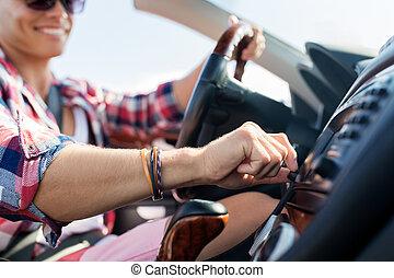 开心, 年轻人, 推动, 可改变的汽车