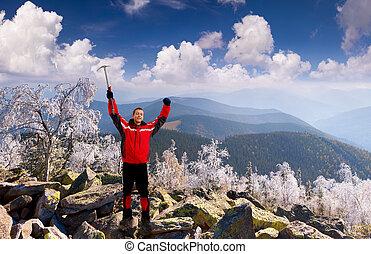开心, 爬上, 带, 一, 冰选择, 在山, 在, november