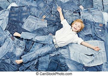 开心, 牛仔裤, 背景, 孩子