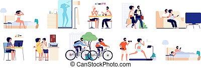 开心, 生活方式, routine., 家务劳动, life., 关怀, 每天, 矢量, 女孩, 人们, 放置, 夫妇, 一起。, 烹调, 清洁, 人, 家庭, 年轻, 家