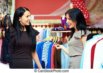开心, 购物, 两个妇女, 商店, 衣服