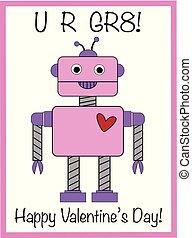 开心, valentines天, 机器人