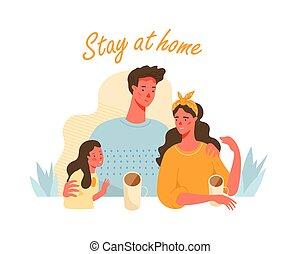 开支, 家, 创造性, 一起。, 家庭时间, concept., 停留, 开心