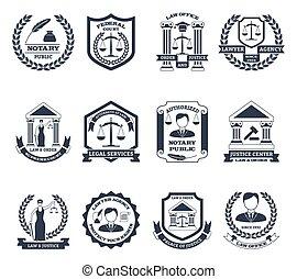 弁護士, ロゴ, 黒, 白, セット