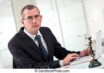 弁護士, 上に, 彼の, 仕事場
