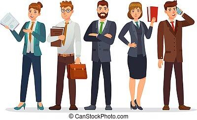 弁護士, 専門家, 財政, 特徴, ∥あるいは∥, 漫画, ベクトル, イラスト, lawyer., team., ビジネス, 弁護士, 法的, 部門