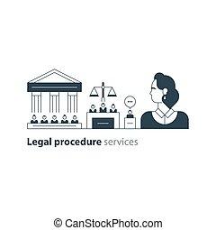 弁護士, 法廷, 専門家, 家, アイコン, 法的, 裁判, advocacy, 弁護士, サービス, 人