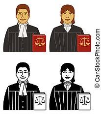 弁護士, 法律, アイコン, 正義, 本, 白い男性, 隔離された, バランス, ベクトル, 女性, セット, 背景, 弁護士