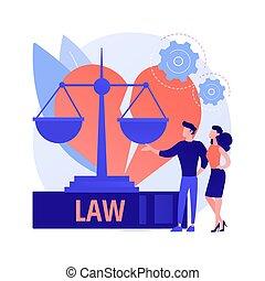 弁護士, 離婚, 抽象的, サービス, 概念, ベクトル, illustration.