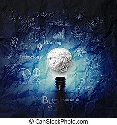 弄皱, 概念, 商业, 光, 策略, 纸, 背景, 灯泡, 3d