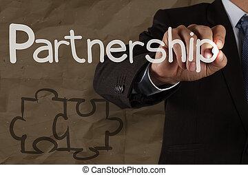 弄皱, 难题, 合作关系, 手, 纸, 再循环, 图