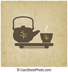 式, お茶, 古い, 背景