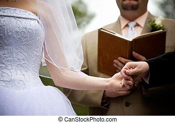 式, の間, 結婚式, 手を持つ
