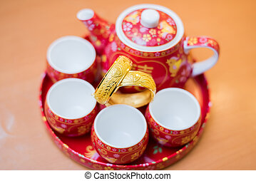 式, セット, 中国語, お茶, 伝統的である, 使われた, 結婚式