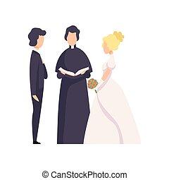 式, ベクトル, 新婚者, 恋人, イラスト, 司祭, 背景, 結婚式, 白, officiating