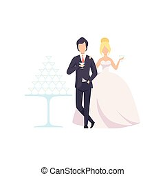 式, ロマンチック, 優雅である, 恋人, 花婿, イラスト, newleads, シャンペン, 花嫁, ベクトル, 背景, 結婚式, 飲むこと, 白