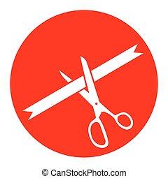 式, 切口, isolated., 印。, バックグラウンド。, リボン, vector., 白い円, 赤, アイコン