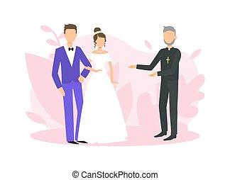 式, 司祭, イラスト, 平ら, officiating, ベクトル, 新婚者, 宗教, 結婚式の カップル, 式