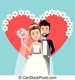 式, 心, 花, 花婿, 一緒に, 装飾, 花嫁, 結婚式