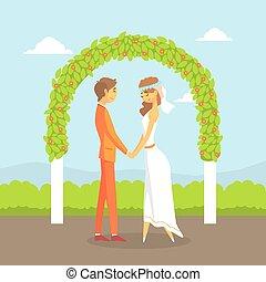 式, 恋人, 幸せ, 新婚者, アーチ, ベクトル, 結婚式, イラスト, 後ろ立つこと, 花