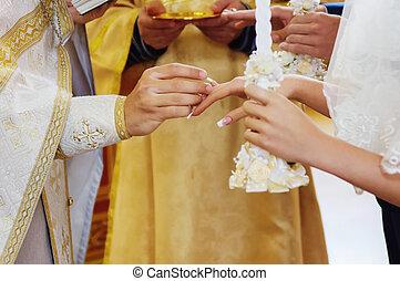 式, 教会, 花婿, 花嫁, 結婚式, の間