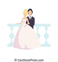 式, 新婚者, 写真, 恋人, に対して, 優雅である, ベクトル, ポーズを取る, イラスト, 結婚式, 背景, 手すり