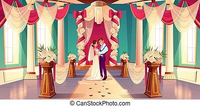 式, 漫画, ベクトル, 新婚者, 結婚式