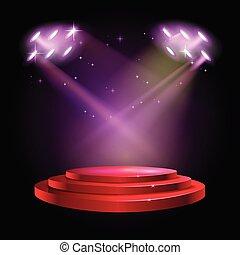 式, 現場, 賞, 演壇, 背景, 赤, ステージ