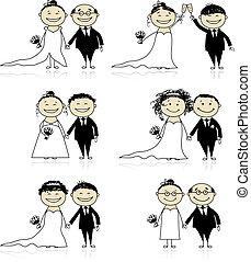 式, 花婿, -, 一緒に, 花嫁, デザイン, 結婚式, あなたの