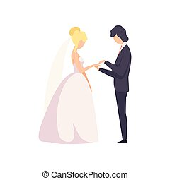 式, 花嫁, 花婿, イラスト, 優雅である, ベクトル, パッティング, 指, 背景, 結婚式, 白いリング